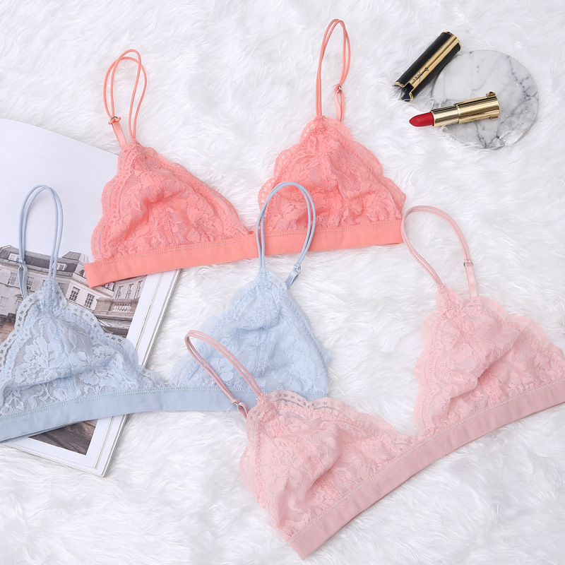 Floral Lace Bralette Wirefree Ladies Underwear Triangle Cups Comfortable Unlined Brassiere Back Closure Push Up Translucent Bra
