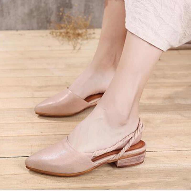 2019 zapatos de cuero VALLU sandalias de mujer puntiagudos pies cuadrados tacones bajos correa trasera sandalias