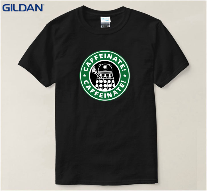 Customized Mens T Shirt Painted Dr Who Men Dalek Caffeinated Male Doctor Who Spring Cotton Tee Shirt Tops Tees Top