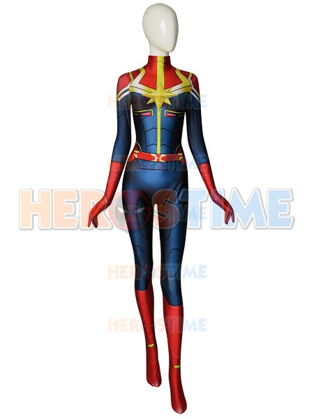 2ce332034df Custom Made Captain-Marvel Cosplay Costume Spandex Printed Captain Marvel  Superhero Zentai Suit Halloween Bodysuit