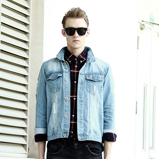 Men S Fashion Autunm Winter Denim Jackets Slim Fit Light Washed