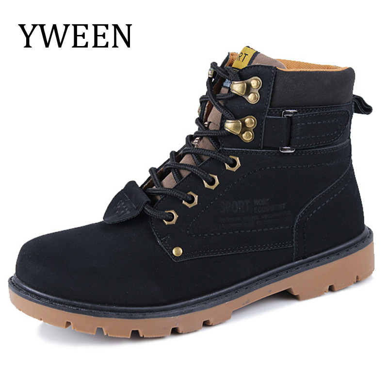 YWEEN Spring Autumn Men Boots Hot Sale Lace-Up Solid Nubuck Leather Fashion Motorcycle Boot Outdoor Man Casual Martin Shoe платье escada sport escada sport es006ewtku40