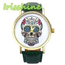 Irisshine #1152 Casal relógios Das Mulheres Dos Homens Do Crânio Do Punk Relógio Analógico Pulseira de Couro Quartz Relógio de Pulso