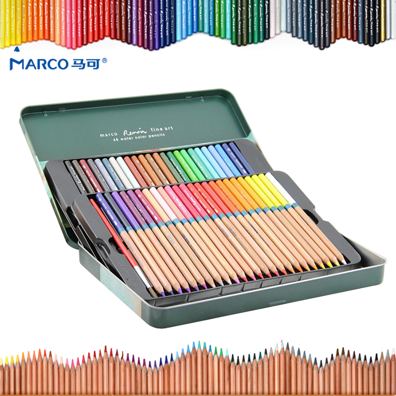 Marco 24/36/48/72 color/set Watercolor colored pencil Professional Drawing pencils school pencils lapices de color Art supplies marco 48 colored pencils aquarela lapis de cor professional drawing 36 colores watercolor pencil set art school student supplies