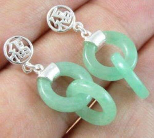 Бесплатная доставка @ @ @ @ @ Прибыл Дизайн Необычный Зеленый Натуральный камень Халцедон Серьги