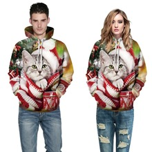 NiceMix 2019 couple merry christmas sweatershirt hot fashion women 3d cute cat print hooded pollovers tops hoody tracksuits plus