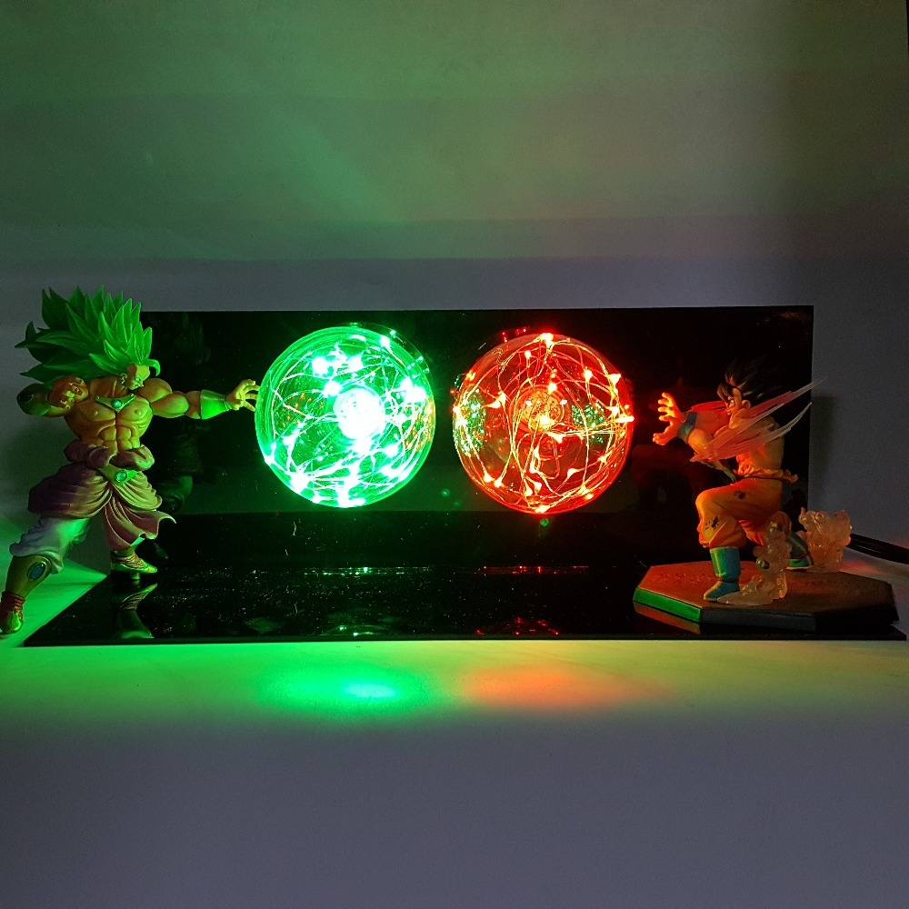 Dragon Ball Z Son Goku VS Broly Table Lamp Bulb Anime Dragon Ball Super Led Night Light Lamparas De Mesa Para El Dormitorio одеяла пиллоу одеяло овечка 200х220 см