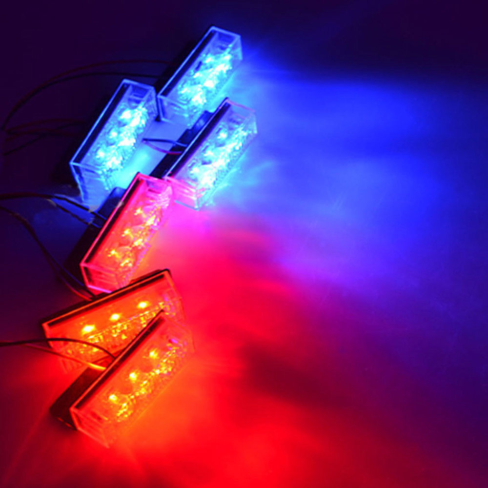 Car styling Automobiles 18 LED Car Police Strobe Flash Light Auto Emergency Grill LED Lamps 3 Flashing Modes Blue and Red 6 ways led strobe light 3 flashing modes controller flash light lamp emergency flashing controller box 12v for car motorcycle