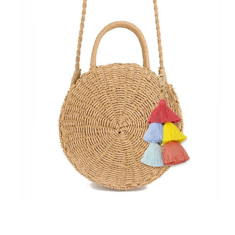 Bohemian Straw Bags Accessories Tassel Pom Pom  Ornament  Women Handbag Beach Bags Ornament