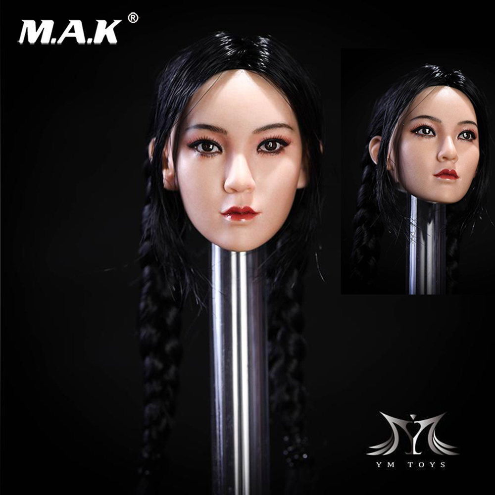 1/6 Pale Asian Female Head Carved Model W Double Braid Fit 12pale color body Figure Collection Doll Toys Gift