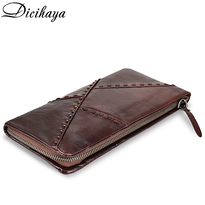 DICIHAYA 2018 First Layer Of Real Leather Men Wallet Cowhide Retro High-Capacity Multi-Card Long Wallet Clutch Purse Phone Bag the 2018 new first layer of real leather ma am oil wax retro high capacity multi card bit long wallet clutch ma am genuine
