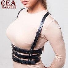 CEA. Жгут панк готический кожаный жгут бюст пояс тело Связывание кожаный бюстгальтер Грудь Жгут для женщин подвязки сексуальные поясные ремни