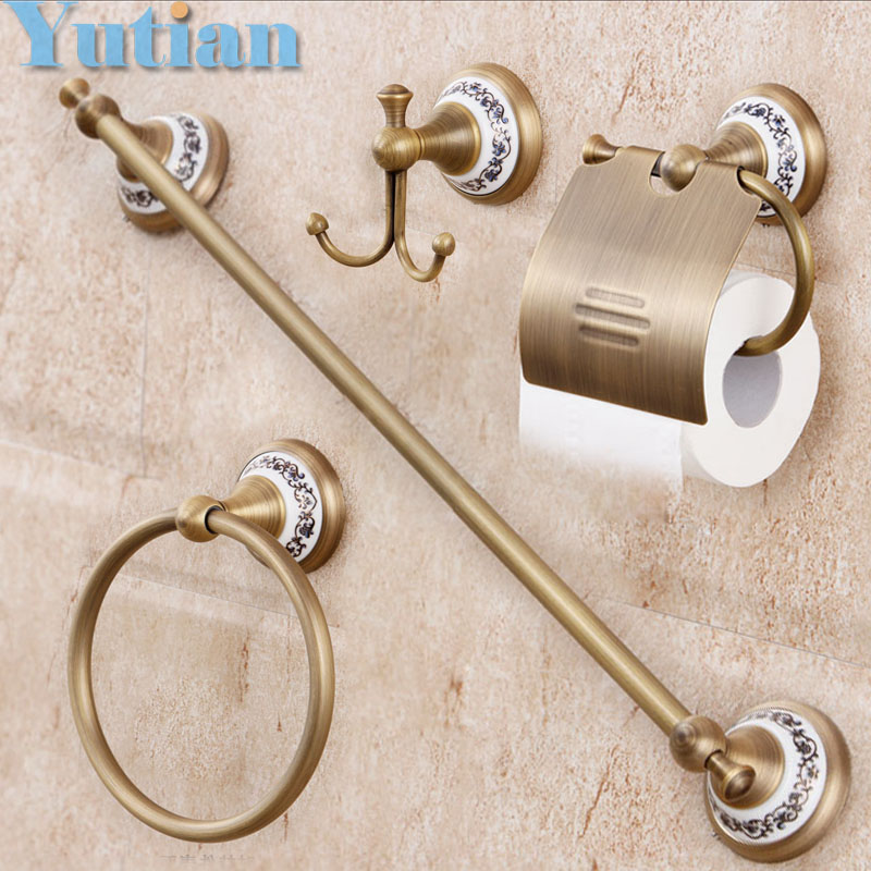 Free shipping,solid brass Bathroom Accessories Set,Robe hook,Paper Holder,Towel Bar,Soap basket,bathroom sets,YT-11500-A free shipping european style brass antique soap dish solid brass bathroom soap holder soap basket bathroom accessories shelf