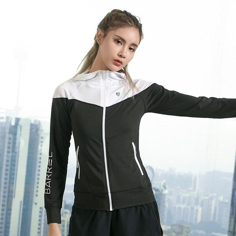 Running Jacket Hoodies Sports Long-Sleeve Fitness Women's Clothing Ladies For Zipper