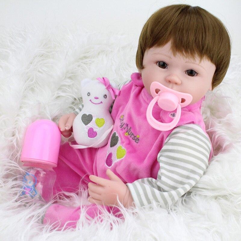 45cm Realistic Handmade Baby Dolls Girl Newborn Lifelike Vinyl Alive Reborn Baby Doll & Pacifier& Bottle 3pcs Toys Soft Silicone