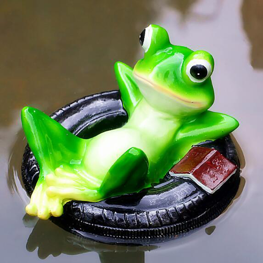 Floating Frog Garden Statue Figurines Resin Patio Lawn Yard Indoor Outdoor Decor Ornaments, Realistic Garden Pond Decor