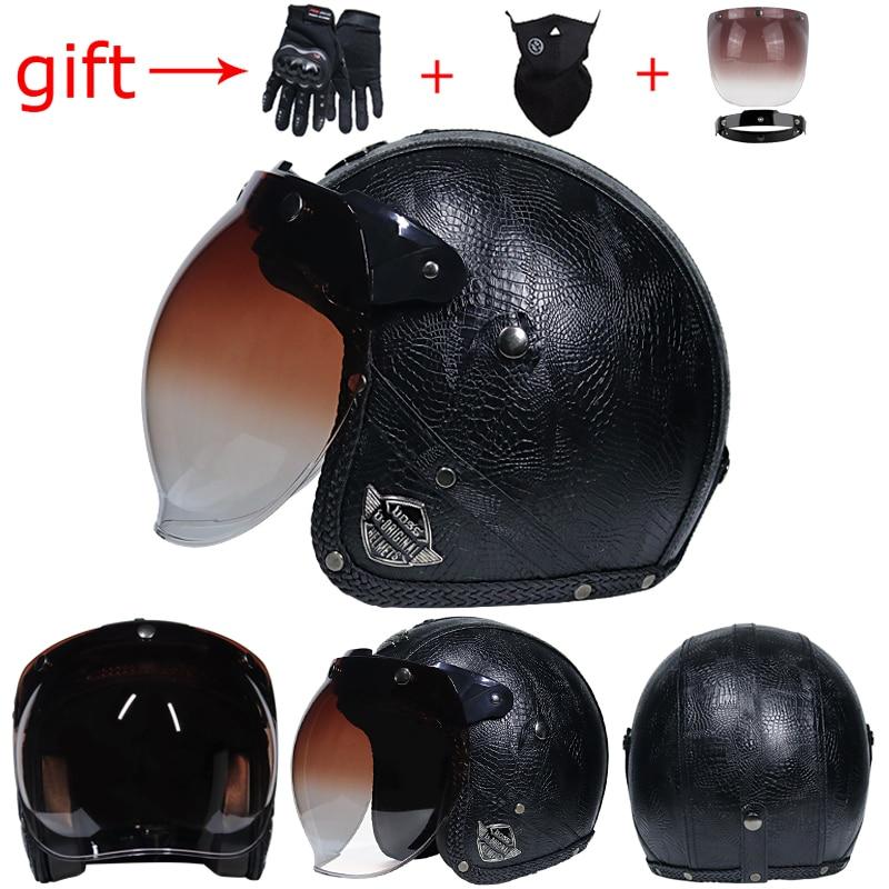 2018 hot motorcycle helmet retro pu leather 3 4 open face. Black Bedroom Furniture Sets. Home Design Ideas