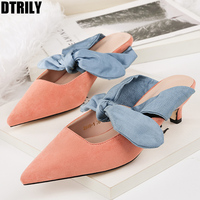 shoes woman thin heels pointed toe mules bowtie sandals zapatos mujer 2018 summer slip on slides black red pink apricot blue
