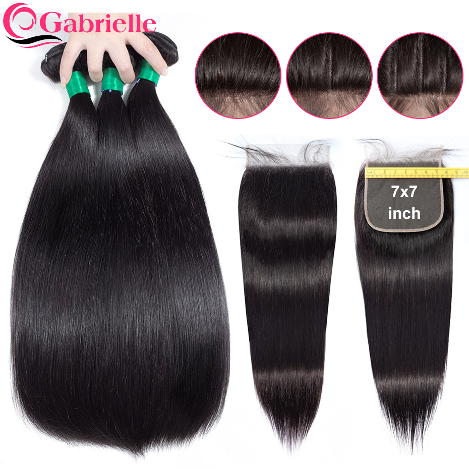 Gabrielle 7x7 Lace Closure with Bundles Brazilian Human Hair Straight Bundles with Closure Baby Hair Remy