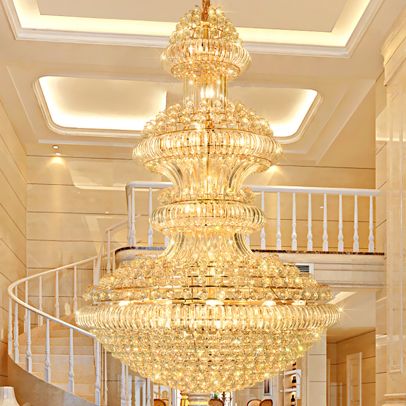 Crystal Chandeliers Lighting Fixture American Golden Crystal Chandelier LED Lamps European Hotel Lobby Hall Home Indoor Lights in Chandeliers from Lights Lighting