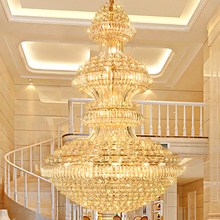 лучшая цена Crystal Chandeliers Lighting Fixture American Golden Crystal Chandelier LED Lamps European Hotel Lobby Hall Home Indoor Lights