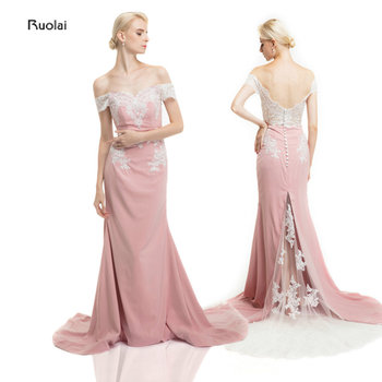 Lace Appliques Evening Dress 2017 Long Mermaid Evening Gown Off the Shoulder Chiffon Evening Party Dress Prom Dresses Low Back