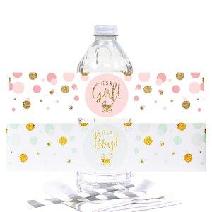 Image 1 - Étiquettes autocollantes pour bouteille deau, décor pour bébé, cest un garçon/fille, étiquette révélatrice du genre, baptême, fournitures pour fête prénatale, 12 pièces