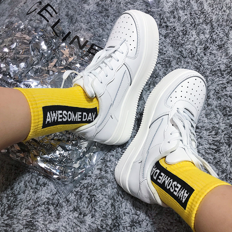 High Heels Platform Shoes Women Spring Autumn 2019 New Arrival Designer White Fashion Creepers Ladies Wedges Harajuku Dad Shoes (16)