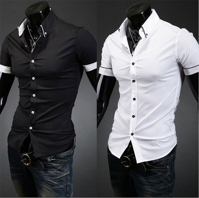 8449132bd8d Fashion Casual Men's Shirt Short Sleeve Button Down Slim Summer Dress  Shirts Formal Men Work Shirt Black White Tops