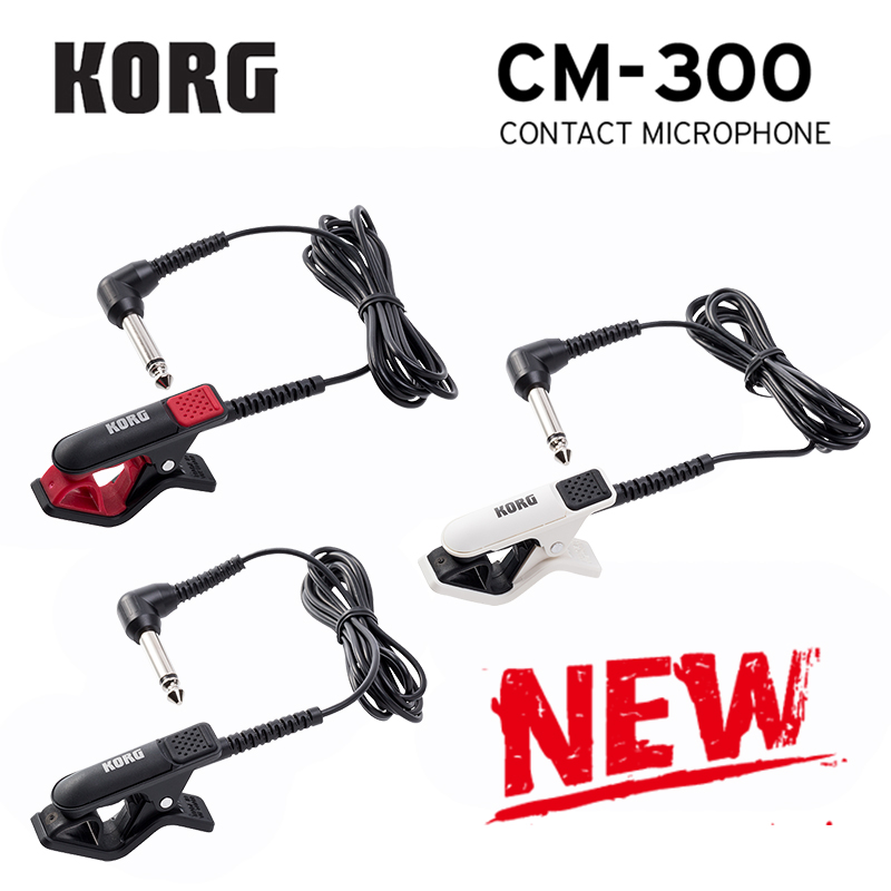 Korg CM300 Clip-On Contact Microphone 1/4''(Dia6.3mm) Male Phone Connector And 5ft (1.5m) Shield Cable - White/Black/Red