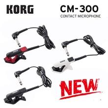 Korg CM300 micrófono de contacto con Clip 1/4 (Dia6.3mm) conector macho para teléfono y cable de protección de 5 pies (1,5 m) blanco/negro/rojo