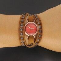 Top julius senhora relógio mulher 56 cm longo moda retro horas vestido wrap pulseira de couro rebite do punk presente de aniversário da menina