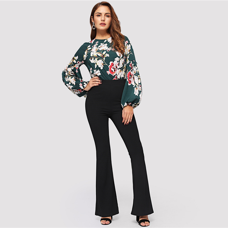 SHEIN Black Elegant Office Lady Elastic Waist Flare Hem Pants Casual Solid Minimalist Pants 19 Spring Women Pants Trousers 12