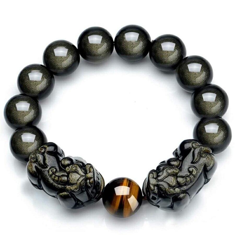 16mm Jewelry Bracelet Black Obsidian Natural Stone Couple Pixiu Bracelets For Men And Women