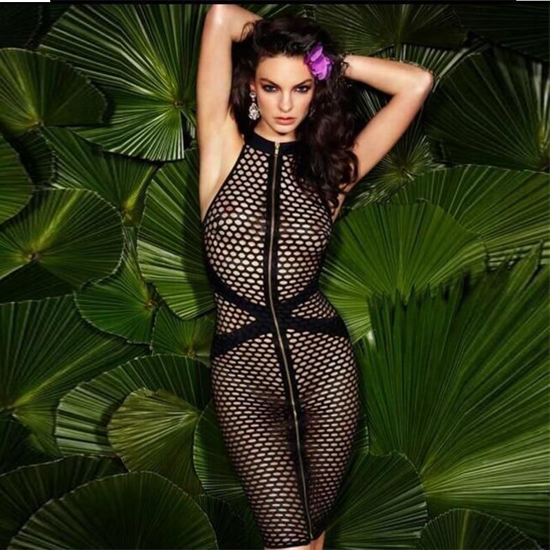 High Quality Black Mech Sleeveless Front Zipper Rayon Bandage Dress Night Club Party Dress