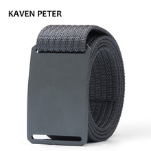 Men Long Nylon Belt With Aluminum Buckle Striped No Holes Grey Canvas For Luxury Brand Waist 100 CM to 160