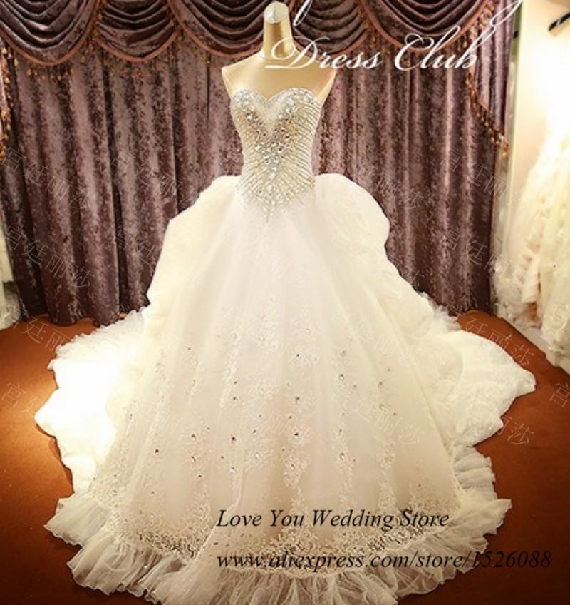 Real Sample Luxury Wedding Dress Royal Train Crystal Bridal Gowns ...