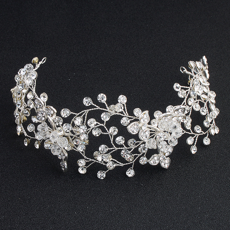 SLBRIDAL Silver Crystals Rhinestones Pearls Flower Leaf Wedding Hairband Headband Bridal Headpieces Hair accessories Bridesmaids