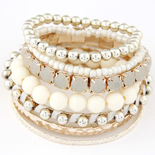 LEMOER Designer Bohemian Candy Color Multilayer Beads Bracelet Bangles jewelry for women