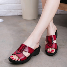 ZIMNAFR WOMEN SANDALS GENUINE LEAHTER SLIPPERS WOMEN SUMMER SHOES SOFT BOTTOM COMFORTABLE MOTHER SLIPPERS PLUS SIZE 35-41