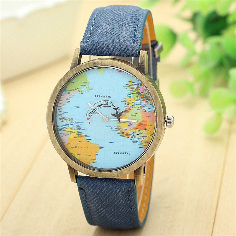 2018 Fashion New Global Travel By Plane Map Women Dress Watch Denim Fabric Band ...