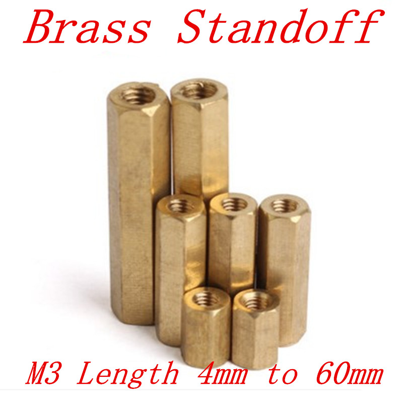 100pcs/lot M3 3mm Brass Standoff Spacer Female Female M3 Brass Threaded Spacer hex spacer length 4mm to 60mm