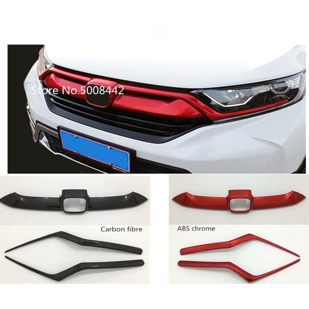 Voor Honda CRV CR V 2017 2018 2019 auto midden decoratief mark trim front up upper head Raster teken decoratieve Grille panel
