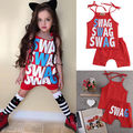 2016 Crianças Do Bebê Meninas Verão Roupas de Frio Vermelho Halter SWAG Tops + Calças Roupas Definir roupa do bebê roupas de verão definido