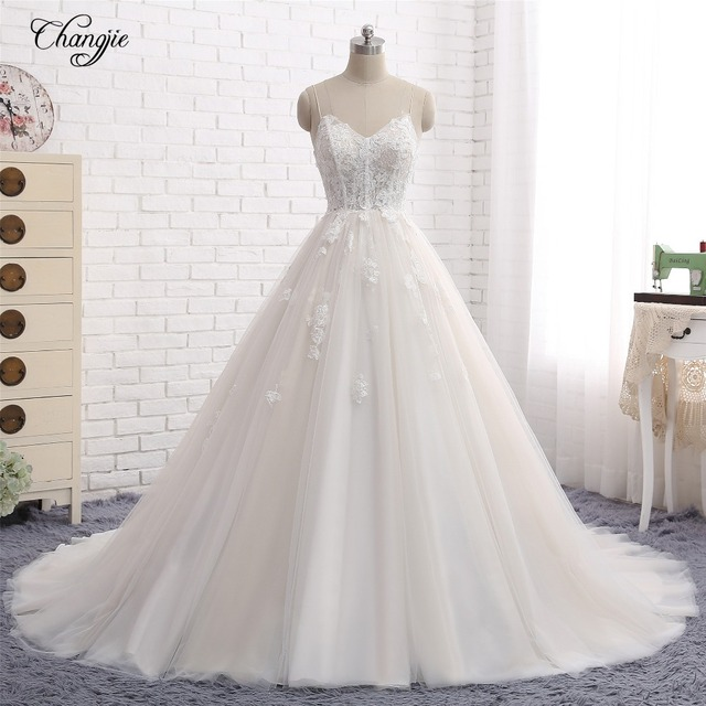 Simple Design Scoop Neck Long Sleeve Long A Line Tulle: New Design Long Wedding Dress 2018 Sweetheart Neck