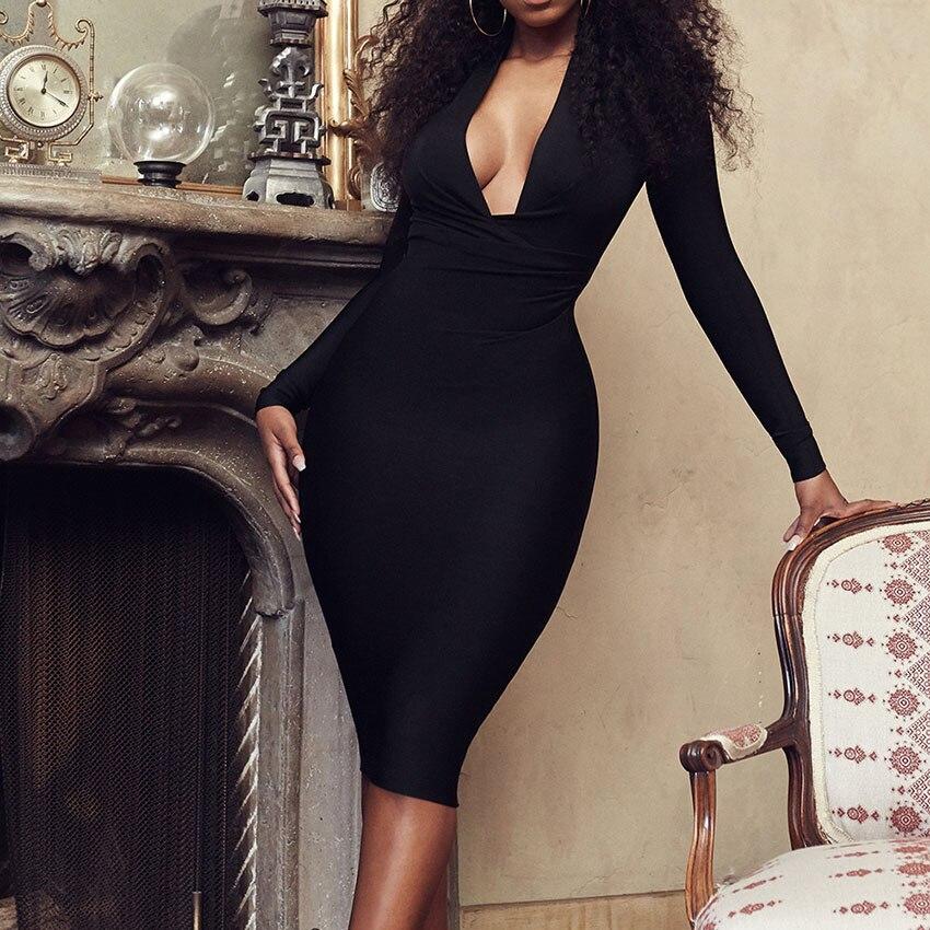 2019 New Sexy Long Sleeve Dress Women Dress Deep V Bodycon Bandage Dress Elegant Celebrity Evening