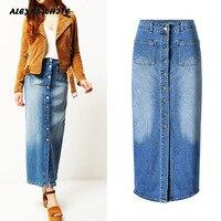 High Waist Single Breasted Jeans Skirt Female 2019 Autumn Women's Retro Long Skirts XXXL Gradient Washed Pocket Skirt