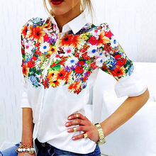 Butterfly Flower Printing Long-Sleeved Casual Blouse