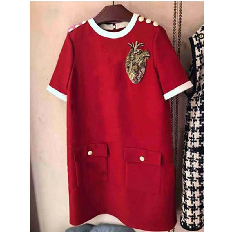 2020 Spring Luxury Women Loose Dress Red Short Sleeve O-neck Mini Dress Fashion Party Brand Designer Clothes Christmas  XXL