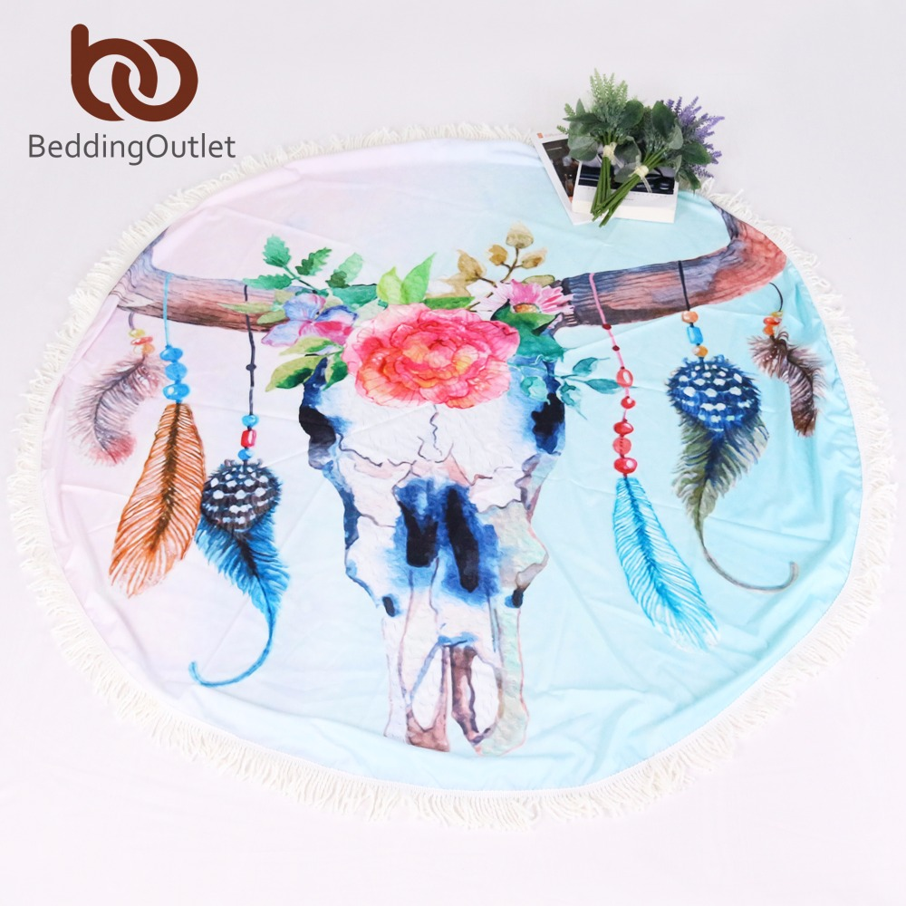 BeddingOutlet Skull Summer Beach Towels Floral Printed Bath Towel Round Blanket with Tassel Yoga Mat 146cm